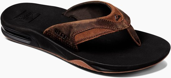 Reef Leather Fanning Heren Slippers - Black/Bronze - Maat 44