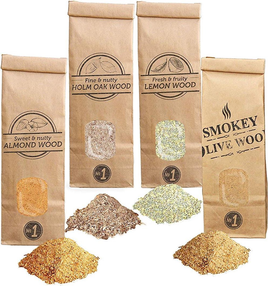 Smokey Olive Wood- 4X 300ml ROOKMOT Selectie, Olijfhout - Amandelhout - Steeneik- Citroenhout - Rookmeel fijn ø 0-1mm