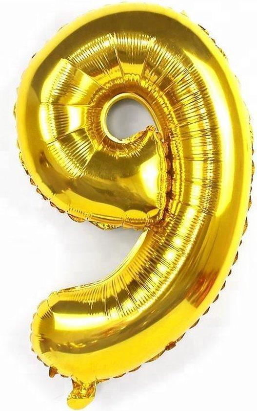 XL Cijferballon 100 cm goud nummer 9 | nummer ballon | cijfer ballon
