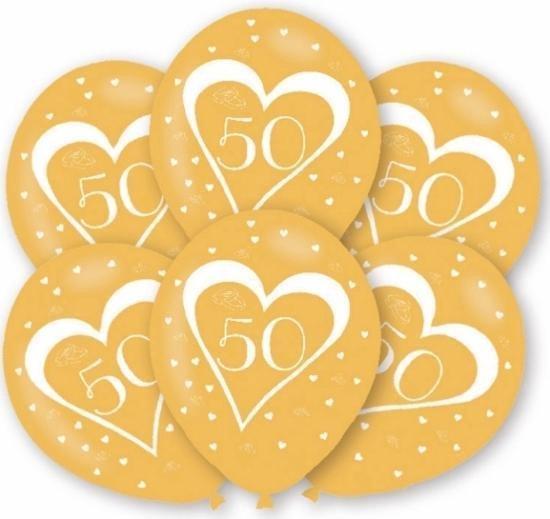 Ballonnen goud 50 jaar thema 6x stuks feestartikelen en versiering jubileum of leeftijd