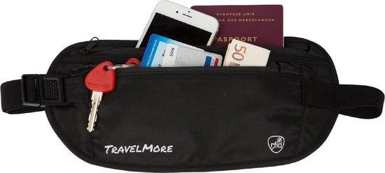 TravelMore Moneybelt - Heuptasje – Buideltasje – Geldriem – Geldbuidel – Travel Wallet – Heupriem – Reis Portemonnee Voor Dames & Heren met RFID Blocker - Zwart