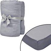 vidaXL Hoeslaken waterbed 180x200 cm katoenen jersey stof grijs 2 st