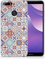 Huawei Y6 (2018) Uniek TPU Hoesje Tiles Color
