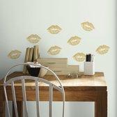 Muurstickers Gold Lips