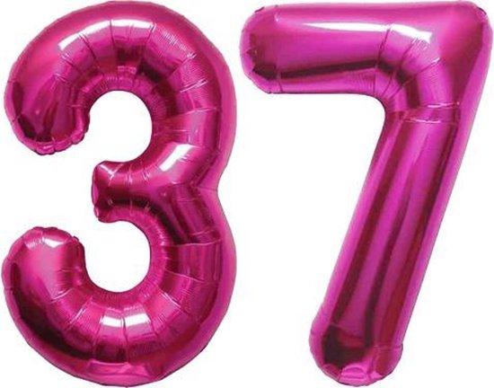Cijfer 37 Magenta Helium 86 cm Excl. helium