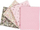Patchwork stof, afm 45x55 cm, 100 g/m2, 4 stuks, roze