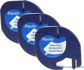 Plastic labels voor Dymo LetraTag 91201 en LT-100H - 12 mm x 4 m - Zwart op wit