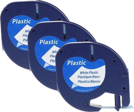 Afbeelding van Plastic labels voor Dymo LetraTag 91201 en LT-100H - 12 mm x 4 m - Zwart op wit
