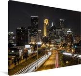 Minneapolis in de Verenigde Staten tijdens de nacht Canvas 60x40 cm - Foto print op Canvas schilderij (Wanddecoratie woonkamer / slaapkamer)