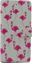 Samsung Galaxy A20e Hoesje met Print - Portemonnee Book Case - Kaarthouder & Magneetlipje - Flamingo