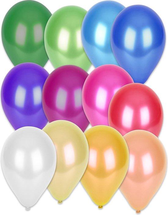 GLOBOLANDIA - 50 metallic gekleurde ballonnen mix - Decoratie > Ballonnen