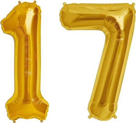 Cijfer 17 Goud Helium 86 cm Excl. Helium