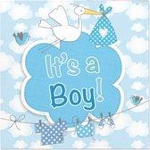 Folat - Servetten - Geboorte Jongen Babyshower - Blauw - 25x25cm