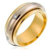 Orphelia TRD-DA25/B/DE/55 - Ring - Bicolor Goud 18 Karaat - Diamant 0.24 ct