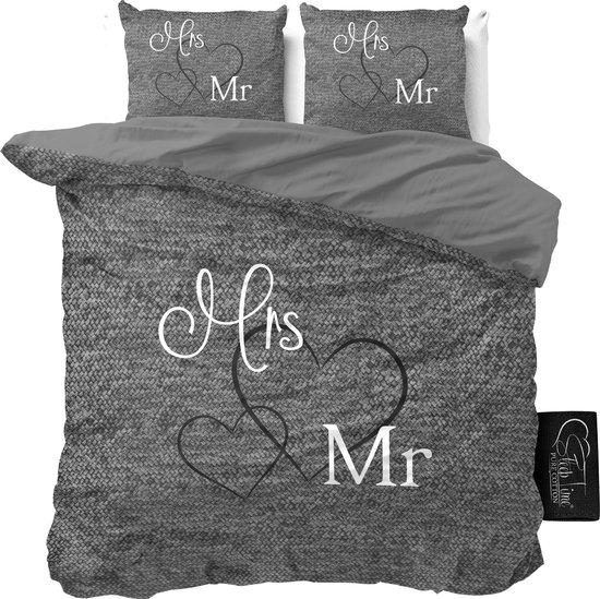 Dreamhouse Mr and Mrs 3 Dekbedovertrek - 240x200/220 + 2 kussenslopen 60x70 - Antraciet - Lits-Jumeaux