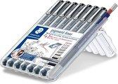 pigment liner fineliner - box 7 st + fijnstifthouder Mars micro 0.5 mm
