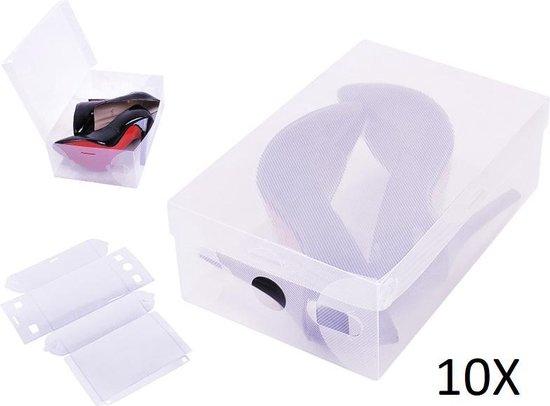 10x Transparante Schoenendoos - Schoenen Opbergsysteem Organizer Opbergbox - Schoenenbox - Schoenendozen Opberger Met Deksel