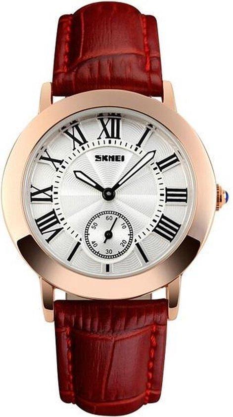 Dames Horloge – Rosé Goud – Lederen Band – Polshorloge