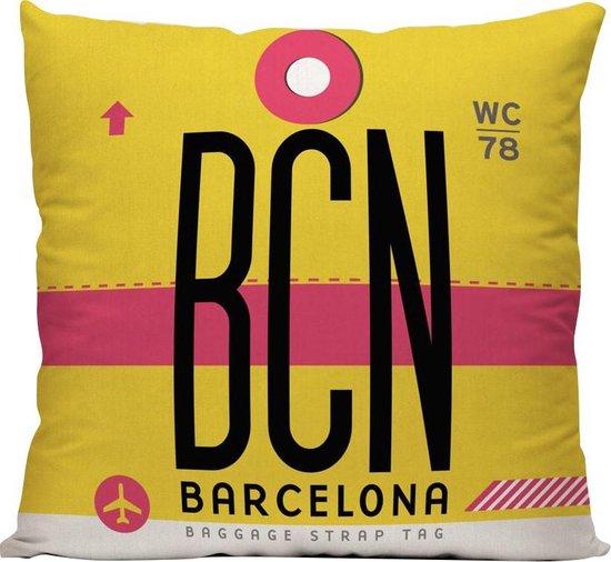 BCN (Luchthaven Barcelona, Spanje) - Sierkussen - 40 x 40 cm - Reizen / Vakantie - Reisliefhebbers - Voor op de bank/bed