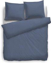 Dekbedovertrek Uni Puntini - Donker Blauw -  Lits-jumeaux (240 x 200/220 cm) - Katoensatijn - Blauw - Heckett Lane