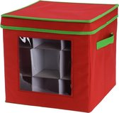 Rode kerstballen/kerstversiering opbergbox voor 27 kerstballen