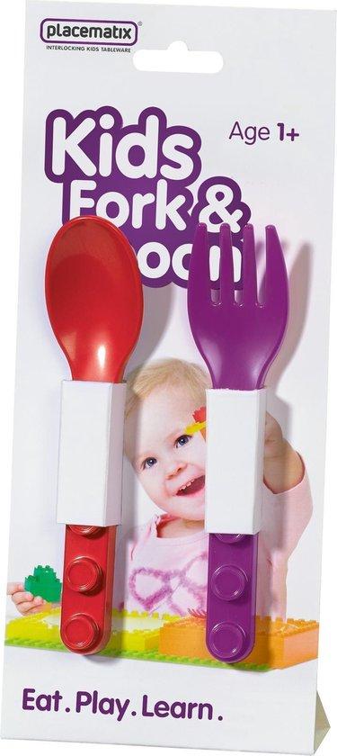Placematix Lepel en Vork - Voor Kinderen - Paars/rood - Set van 2 stuks