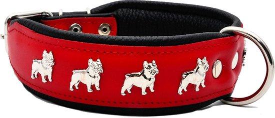 Dog's Companion Leren Halsband - Franse Bulldog - 32-41 cm x 40 mm - Rood/Zwart