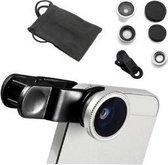 DrPhone Clip Lens- 3-in-1 Fish Eye 180° Lens / Wide Lens / Macro Lens - Universeel Compact Zilver Universeel Tablet/Smartphone