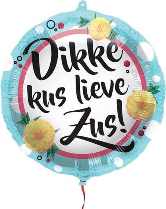 Helium Folieballon Dikke kus lieve Zus!