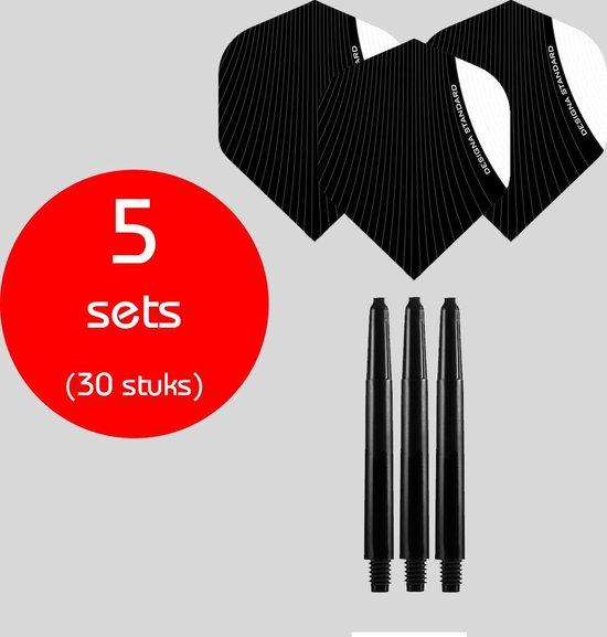 Dragon Darts - 5 sets (30 stuks) - medium - darts shafts - inclusief - infusion - darts flights - wit