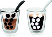 Zak!Designs Dotdot Koffiebeker - Dubbelwandig - Met Lepel - 20 cl - Set van 2 stuks - Zwart/Wit