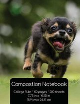 Happy Puppy - College Rule - Composition Notebook