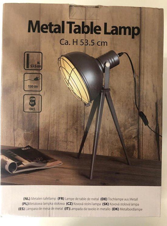 Metalen tafellamp - kleur grijs - 53.5 cm hoog - voor binnen