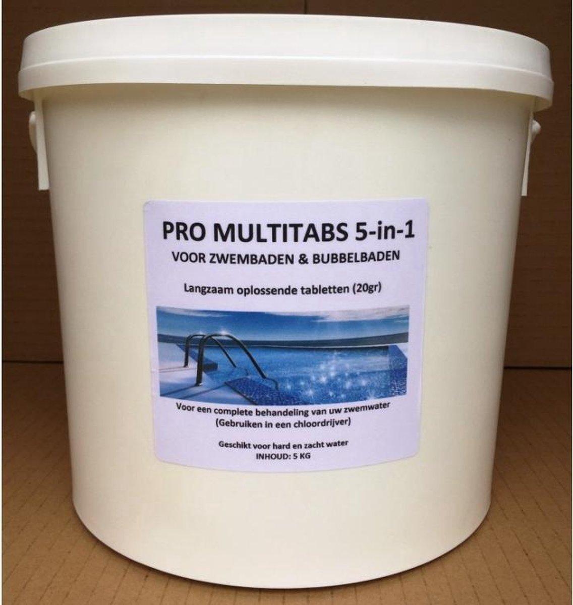 PRO MULTITABS 5-in-1 20gr 5KG (componenten: Chloor Chloortabletten Anti Alg Algenreiniging Vlokmiddel Vlokkingsmiddel Vlokker Vlokkerverbinding pH waarde)