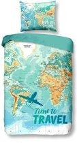 Snoozing Worldmap - Flanel - Dekbedovertrek - Eenpersoons - 140x200/220 cm + 1 kussensloop 60x70 cm - Multi kleur
