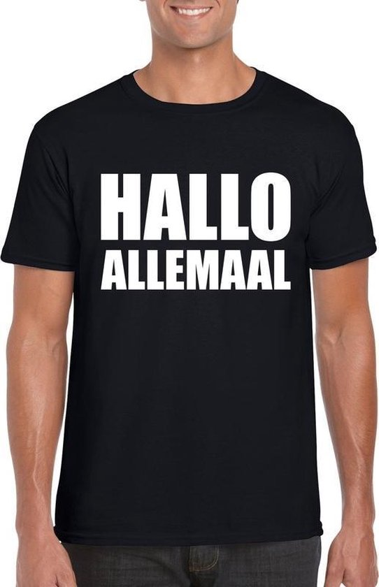Hallo allemaal tekst t-shirt zwart heren 2XL