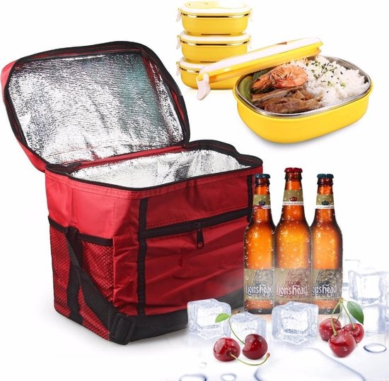 Large Thermo Lunchtas Koeltas - Rood Picknick Tas Koeltasje Lunch Bag - Lunchtasje Lunchbox