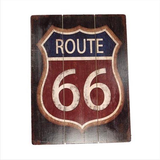 Bol Com Retro Houten Decoratie Plaat 30 40cm Route 66