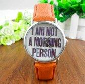 Hidzo Horloge I Am Not A Morning Person ø 37 mm - Bruin - In horlogedoosje