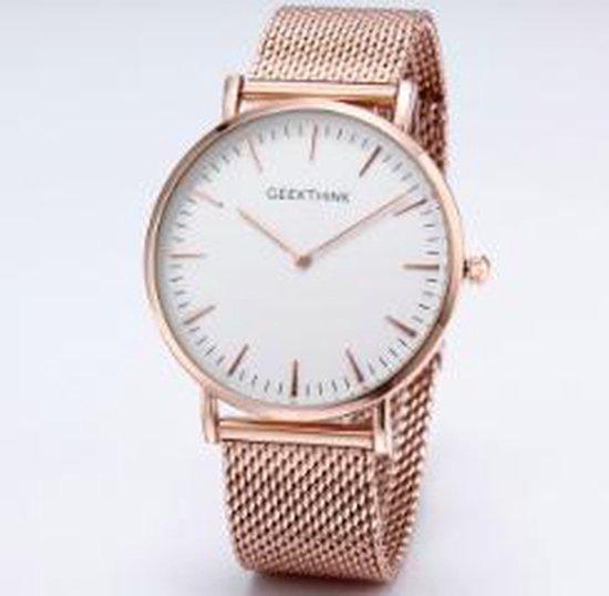 Hidzo Horloge Geekthink ø 37 mm – Rose-Goud/Wit – Inclusief horlogedoosje
