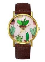 Hidzo Horloge Cactus ø 37 mm - Bruin - In horlogedoosje