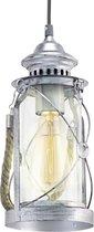 EGLO Vintage - Hanglamp - 1 Lichts - Antiek Zilver - Helder Glas