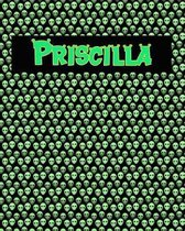 120 Page Handwriting Practice Book with Green Alien Cover Priscilla