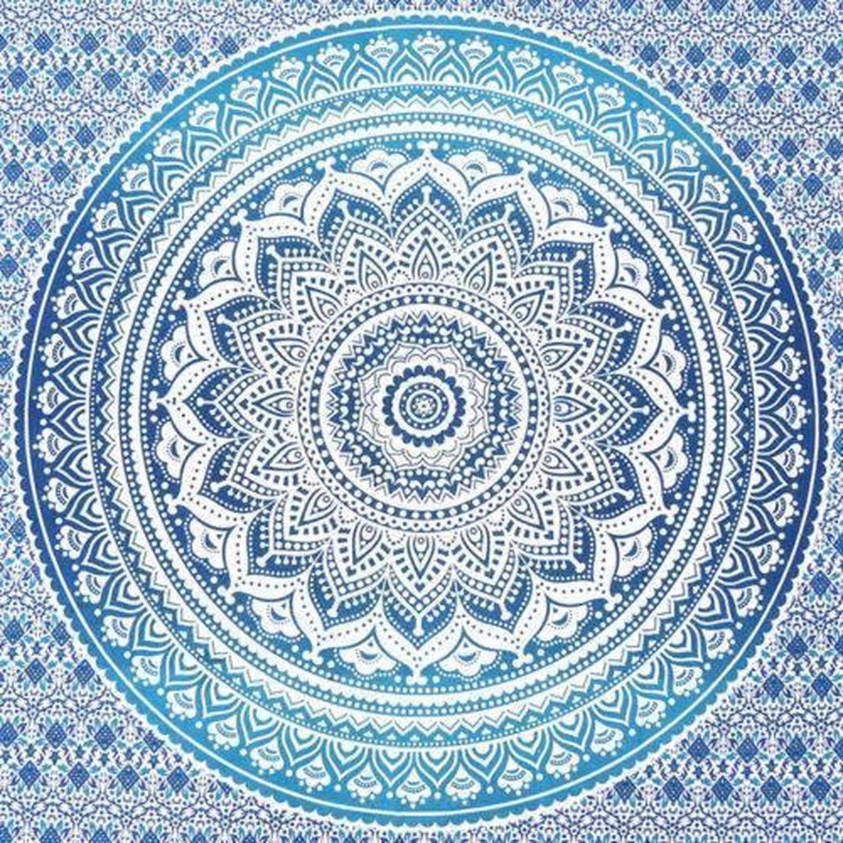 Strandlaken - Blauw - 2.10m x 2.40m - XXL - Tafelkleed - Picknickkleed - HANDMADE