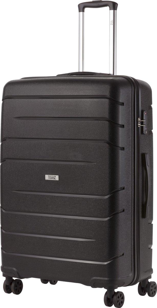 TravelZ Big Bars Reiskoffer - 78cm Koffer met TSA-slot - Dubbele wielen - Zwart