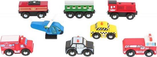 Afbeelding van Set van 8 kleine voertuigen geschikt voor rails speelgoed