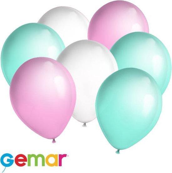 30x ballonnen Mintgroen, Wit en Roze (Ook geschikt voor Helium)