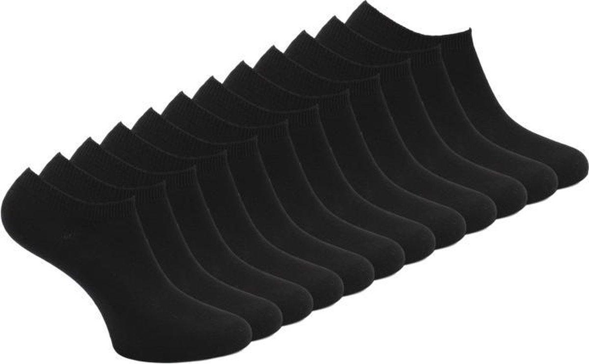 12 paar Bonanza sneakersokken - Basic - Platte Naad - Zwart - Maat 43-46