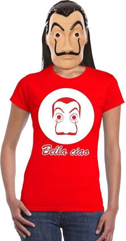 Rood Salvador Dali t-shirt maat L - met La Casa de Papel masker voor dames - kostuum