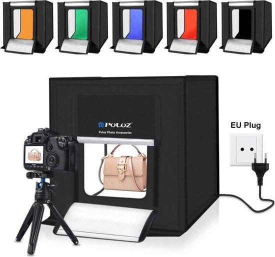 Puluz Professionele Foto Studio Box met LED verlichting 40 x 40 x 40 cm - Inclusief LED verlichting en 6 kleuren achtergronden